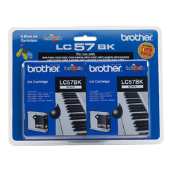 Genuine Brother LC57 Black Twin Pack
